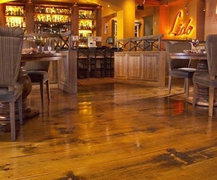 Distressed Pine Flooring Sets the Backdrop for Italian Restaurant