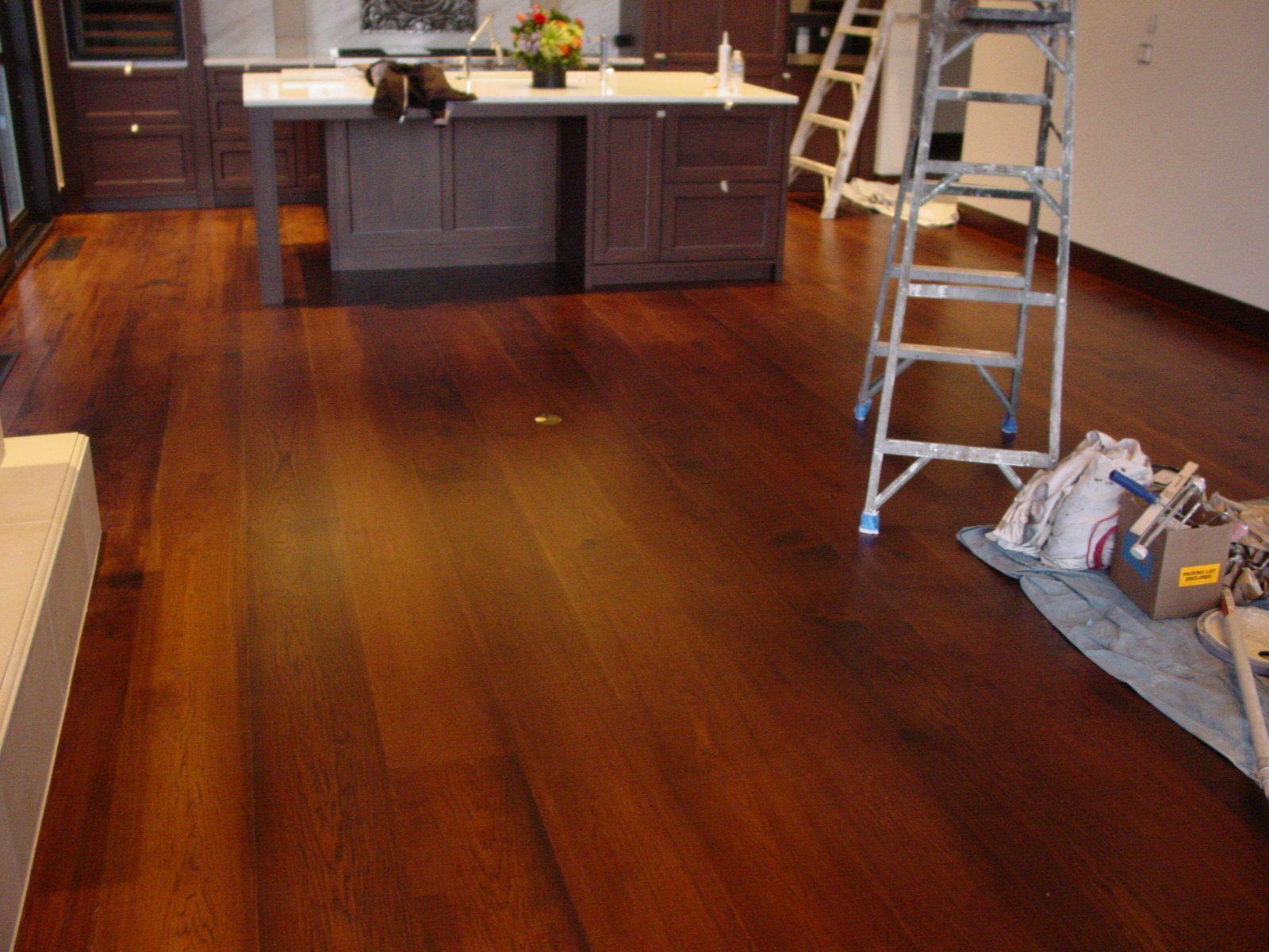 Dark Handscraped Hickory White Oak Floor In Kitchen