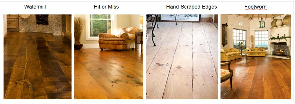 additionally some clients dont want the hand scraped marks they prefer the look of antique wood floors and use our hit or miss on pine floors or watermill - Distressed Pine Flooring