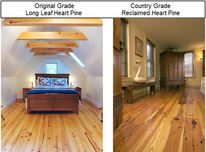 5 Original Grade Heart Pine Floors Vs Country Reclaimed Wood Savings For Project 1 575 27 Off The Total Cost Of