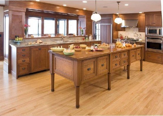 Wide Plank Flooring In Modern Kitchen