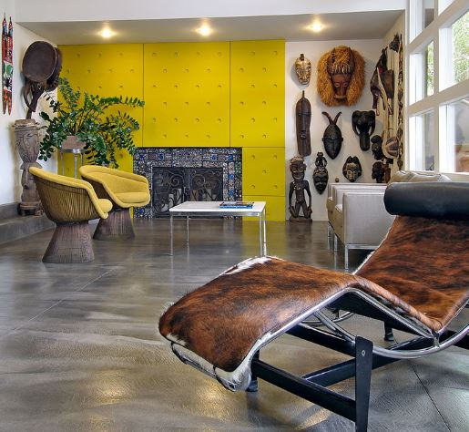 African Themed living wood With Wide Plank Floors