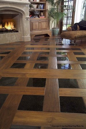 Walnut Wood Floors With Tile In Living Room