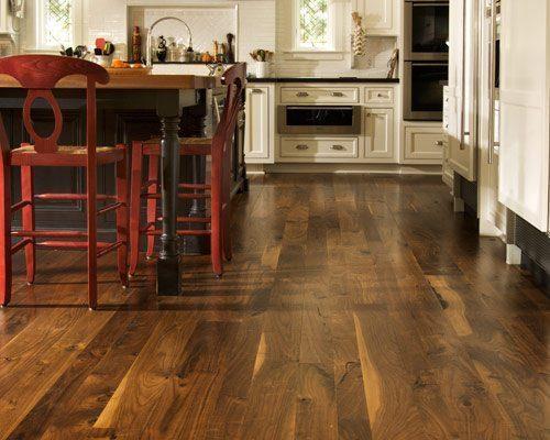 Bath Show Walnut Flooring In Kitchen