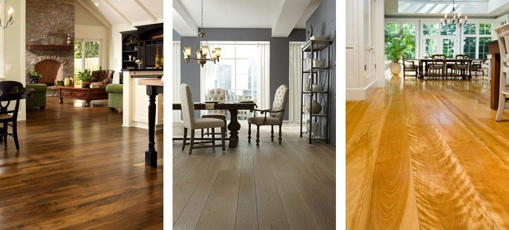 Three hardwood flooring examples from Carlisle Wide Plank Floors