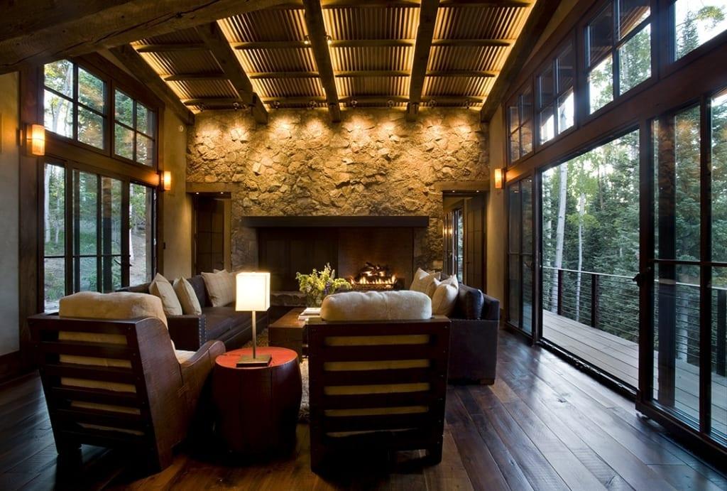 Dark Wood Floors in Rustic Living room
