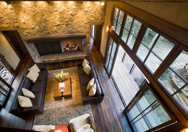 Dark Wood Floor in Rustic Living room View from ceiling