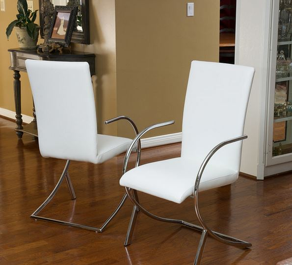 Prima White Leather Side Chairs