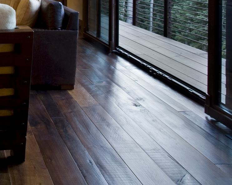 distressed dark wood floors design boards rustic modern family room carlisle wide plank floors