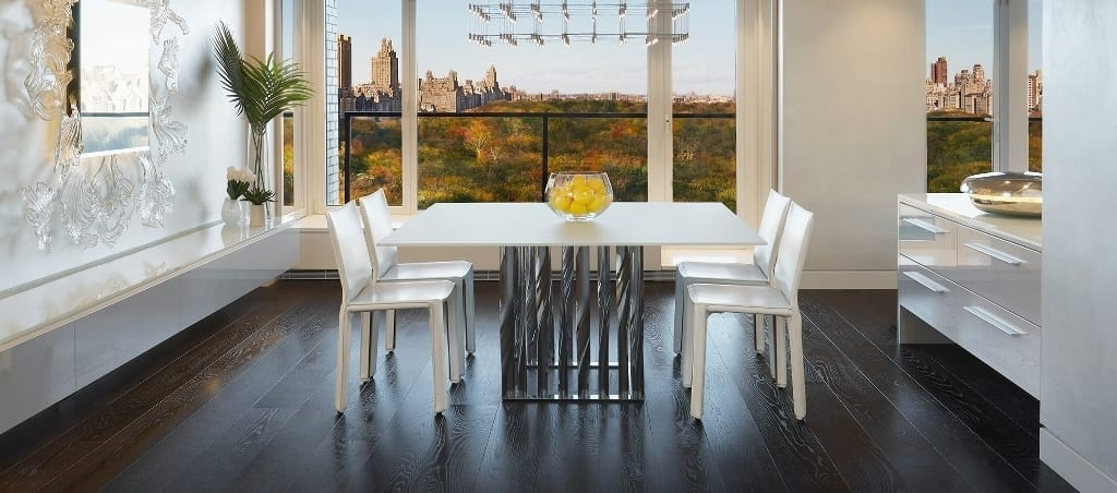 dark oak flooring with white furniture