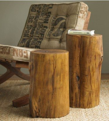 VivaTerra Teak Tree Trunk Accent tables on the Carlisle Wide Plank Floors Blog