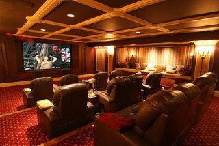 Traditional Media Room With Hickory Wood Floor