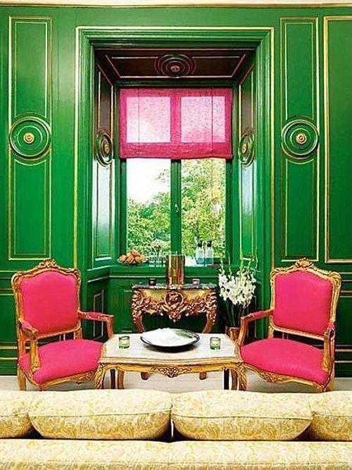 Green Wall Wood Floor Paneling