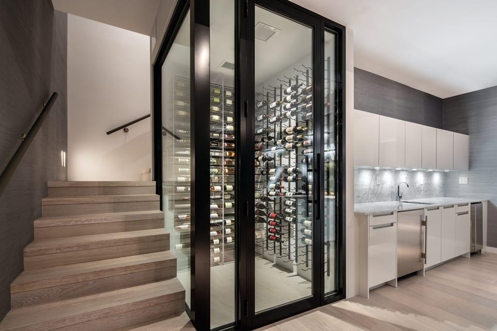 Wide Plank Flooring In Wine Cellar