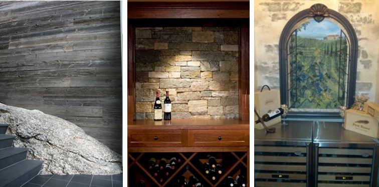 Wine Cellar Wine Ideas with Reclaimed Wood Wall Paneling from Carlisle Wide Plank Floors