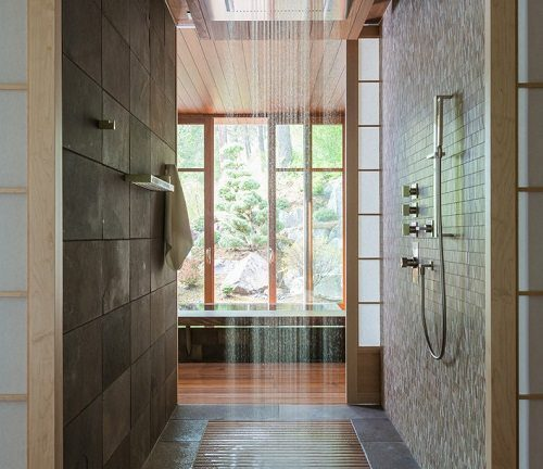 Walk In Shower With Hardwood Floors In Background