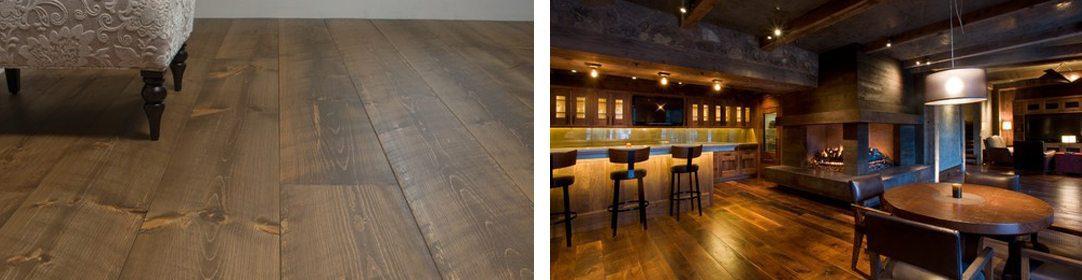 Hand-distressed hardwood flooring