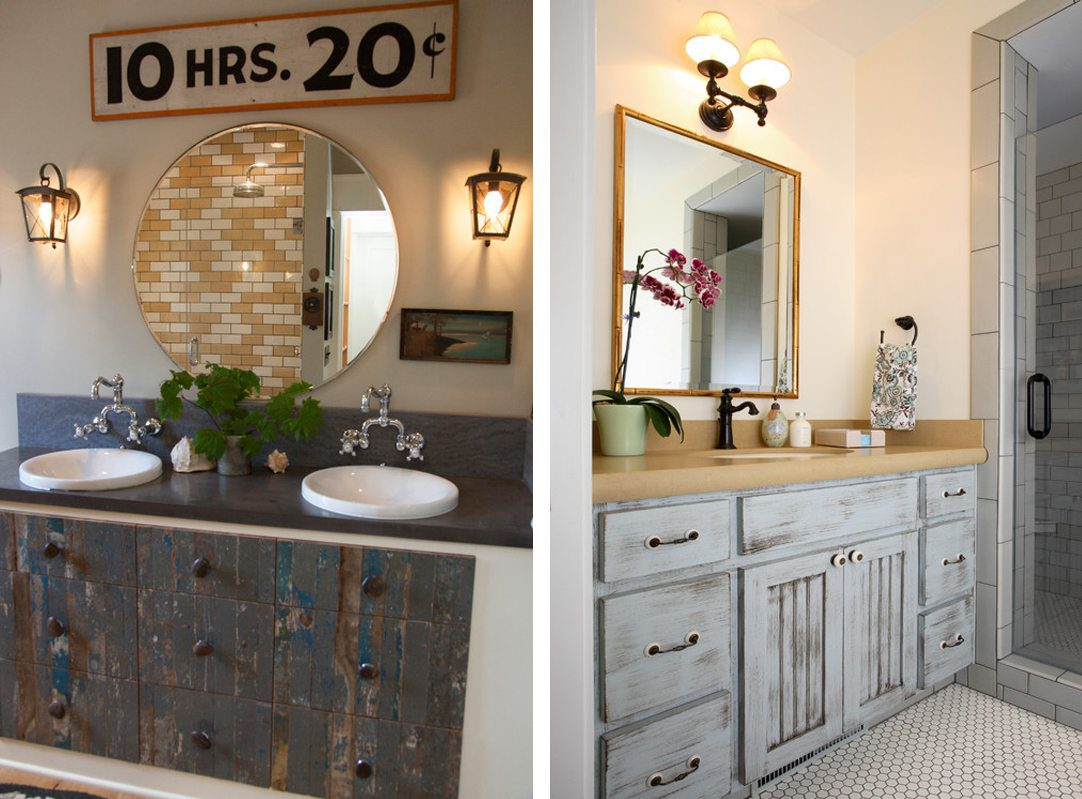Two bathrooms with reclaimed wood cabinets