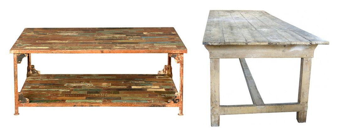 Distressed wood tables