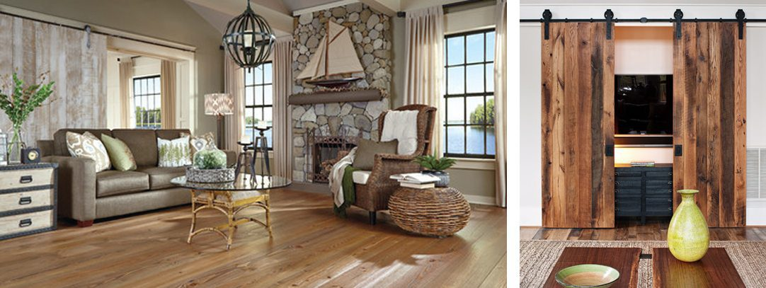 Two examples of barn doors in living rooms