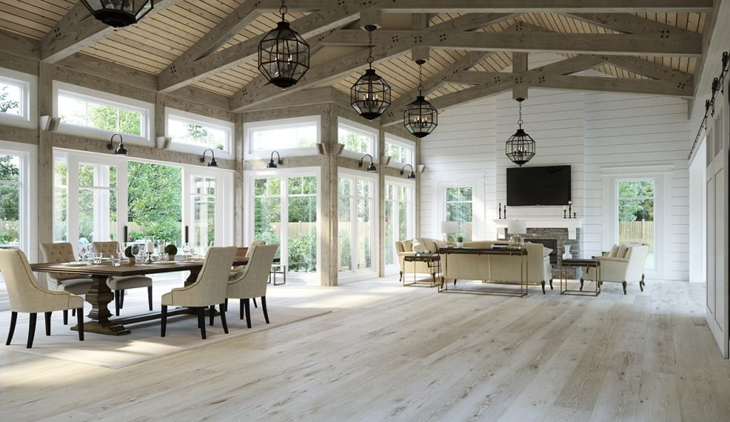 Large Room with Wood Ceiling and light floors