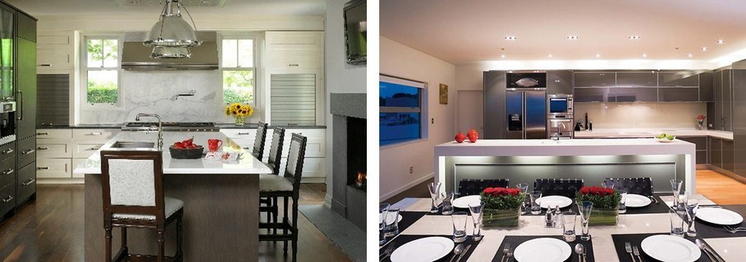 2 examples of kitchen lighting