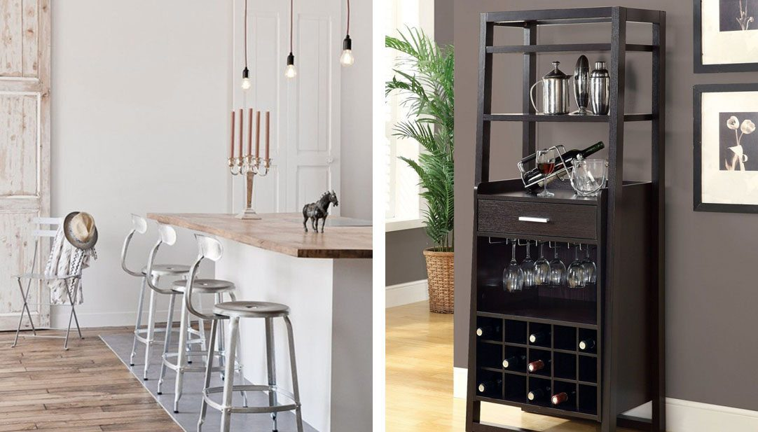 Right: an island with bar with metal bar stools. Left: a dark wood at home bar
