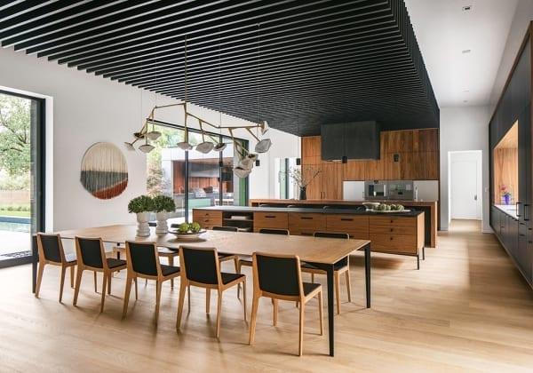 light hardwood flooring in contemporary kitchen