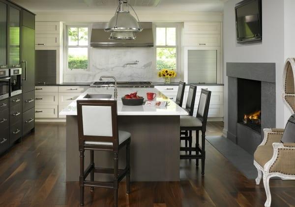 dark wood flooring in kitchen