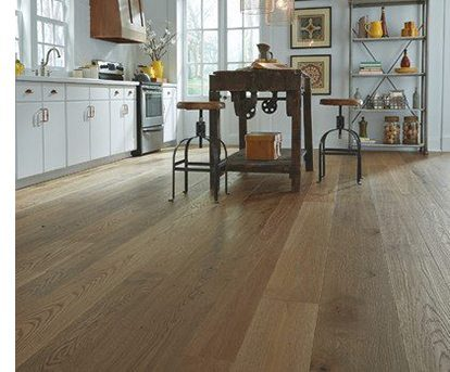 Distressed Wood Flooring in Farmhouse Kitchen from Carlisle Wide Plank Floors