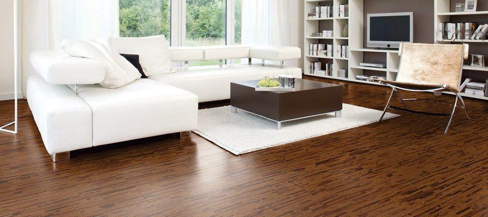 Cork flooring in a living room