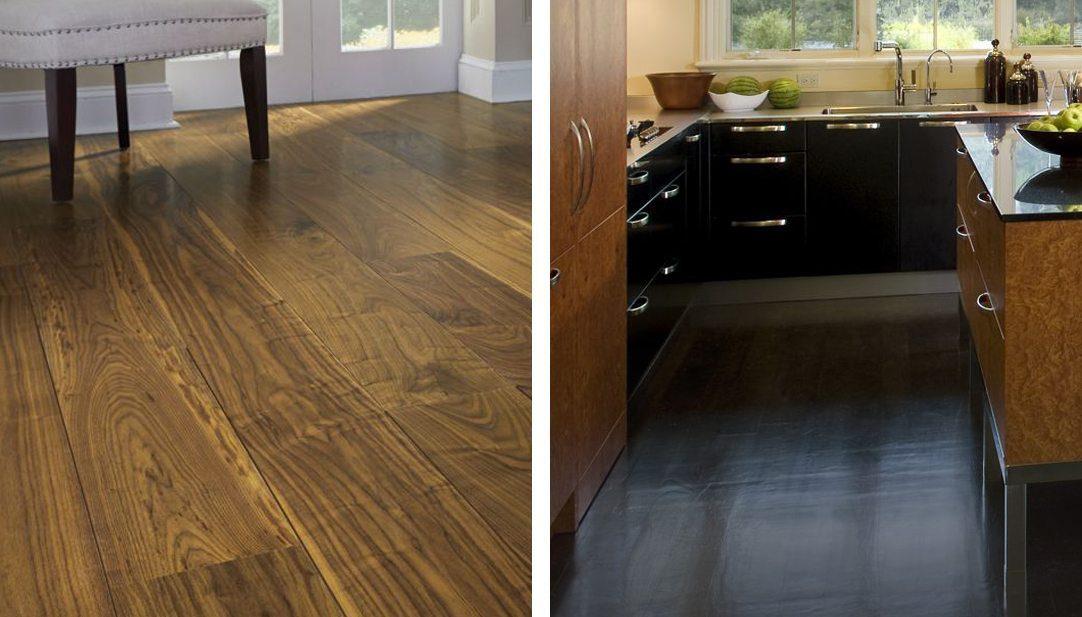 Two examples of Carlisle walnut hardwood flooring