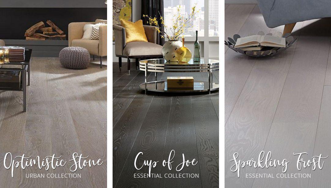 Three Carlisle Hardwood Flooring examples: Optimistic Stone, Cup of Joe, and Sparkling Frost