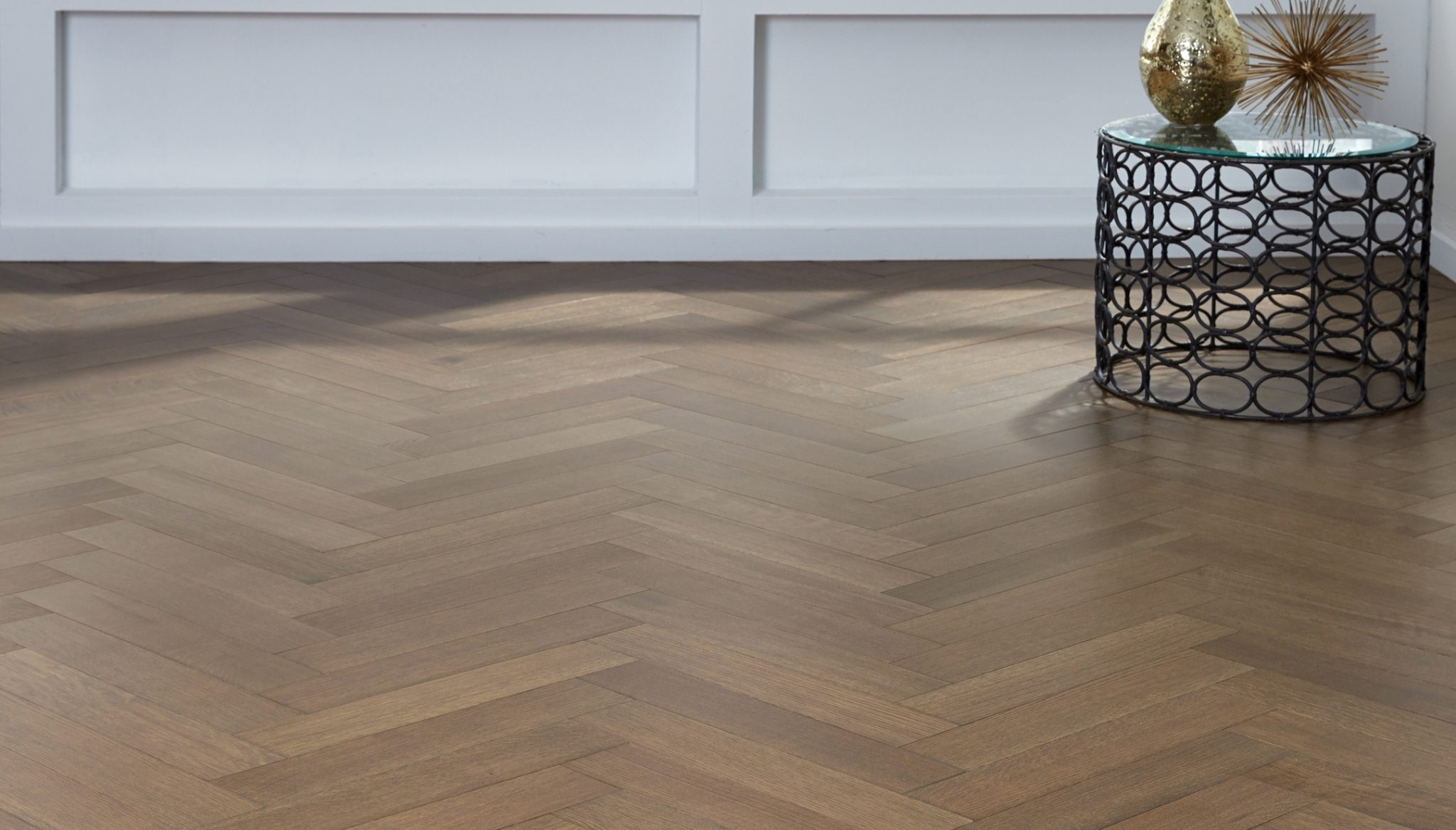Up the wow factor of your decor with herringbone wood floors for Parquet wood flooring