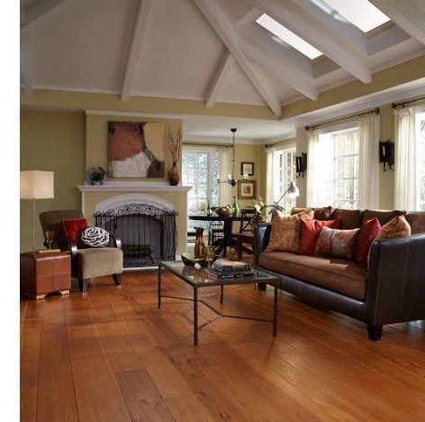 Cathedral Ceiling with Hickory Wood Floors from Carlisle Wide Plank Floors