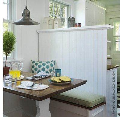 A high wall dividermakes this nook it's own space. Design from Kate Jackson Design