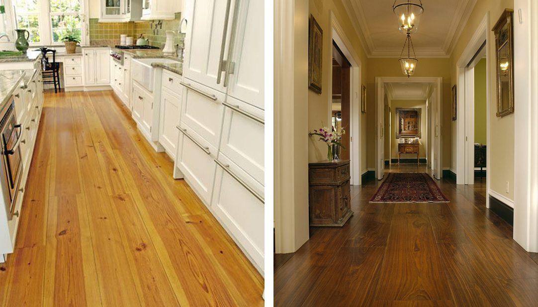 Two hallways using wide plank flooring