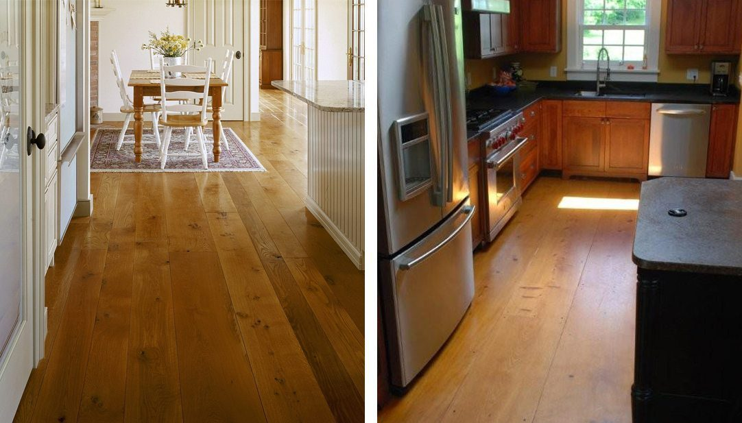 Oak and Pine wide plank flooring from Carlisle