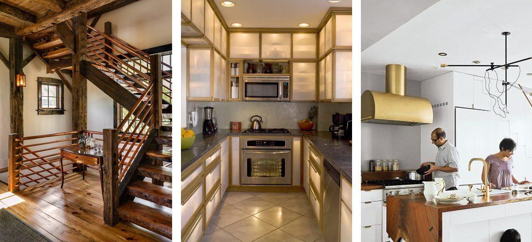 Three examples of copper in interior design