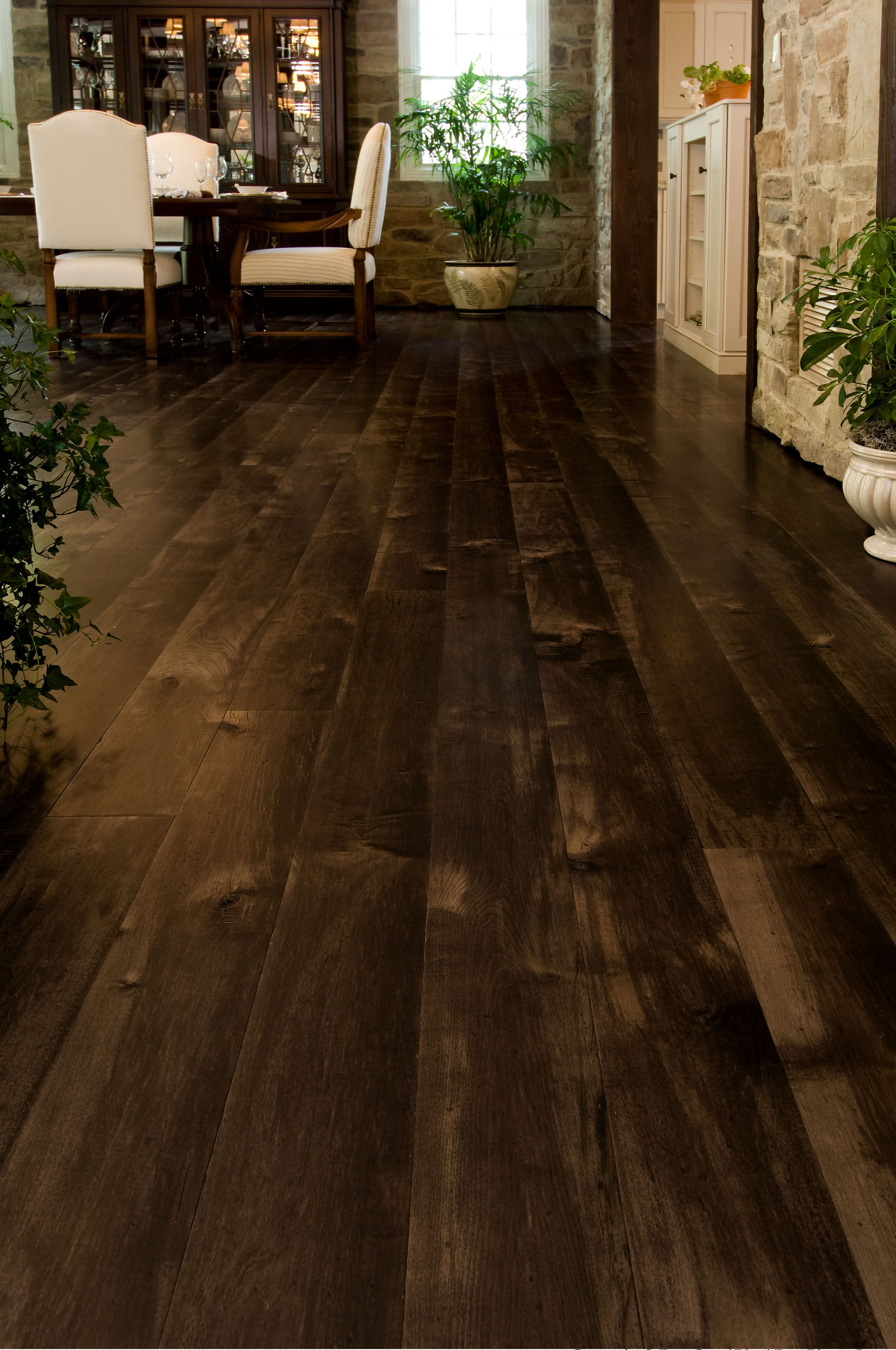 Brown Maple Wood Floors In A Dining Room