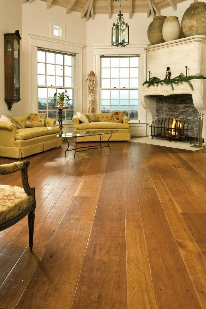 Cherry Hardwood Flooring In A Nantucket Living Room