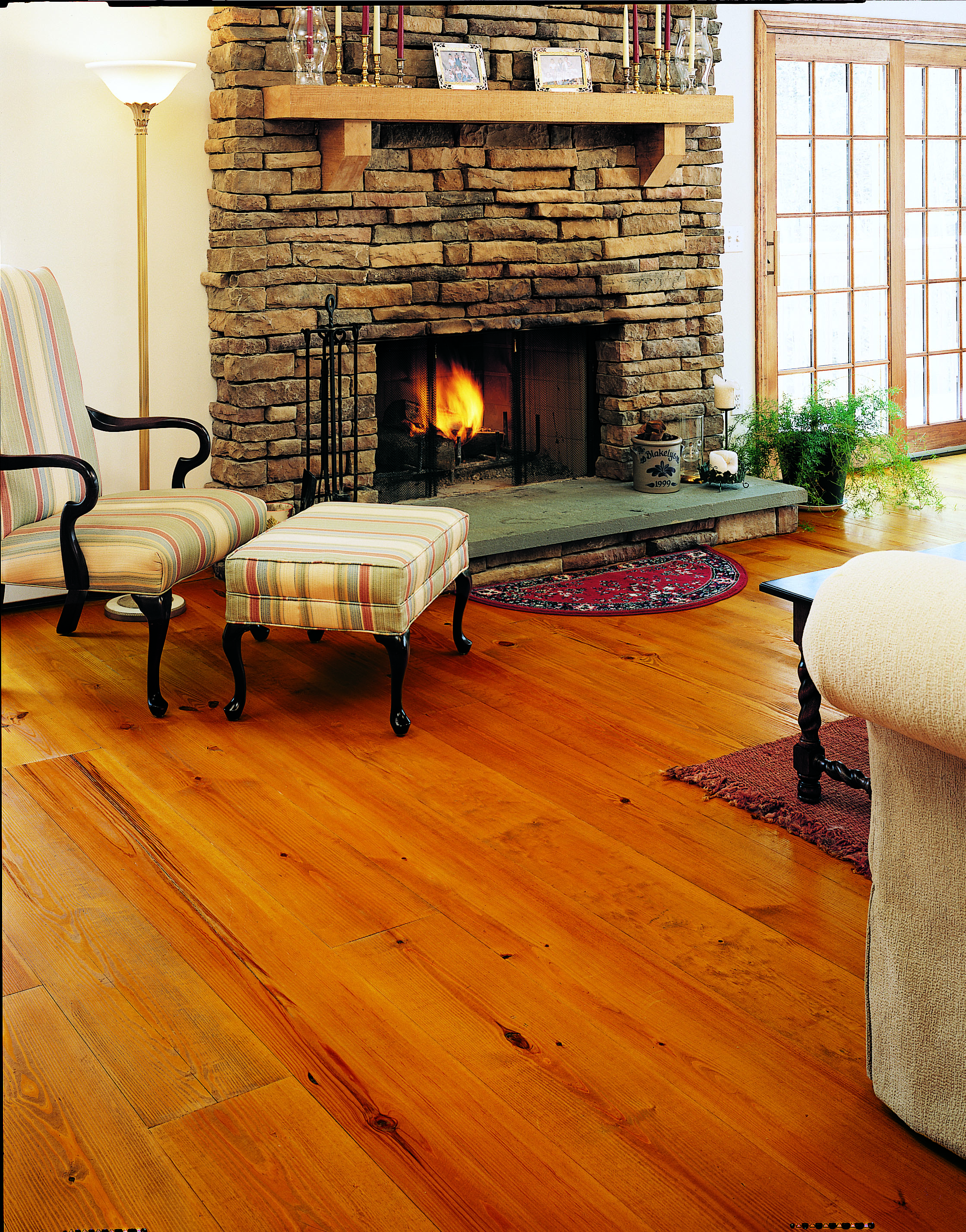 Heart Pine Floors In A Living Room Carlisle Wide Plank