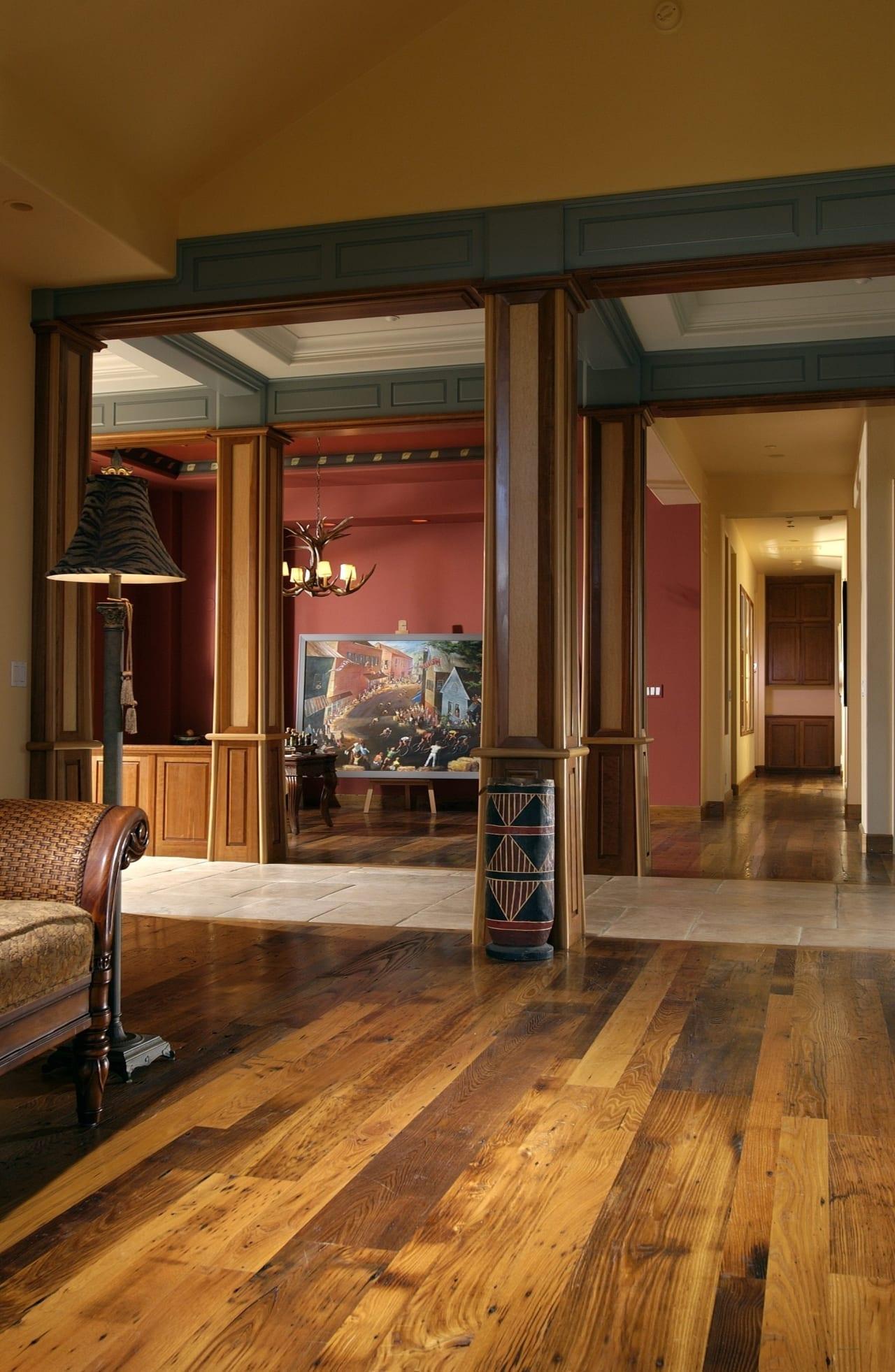reclaimed chestnut flooring in a hallway