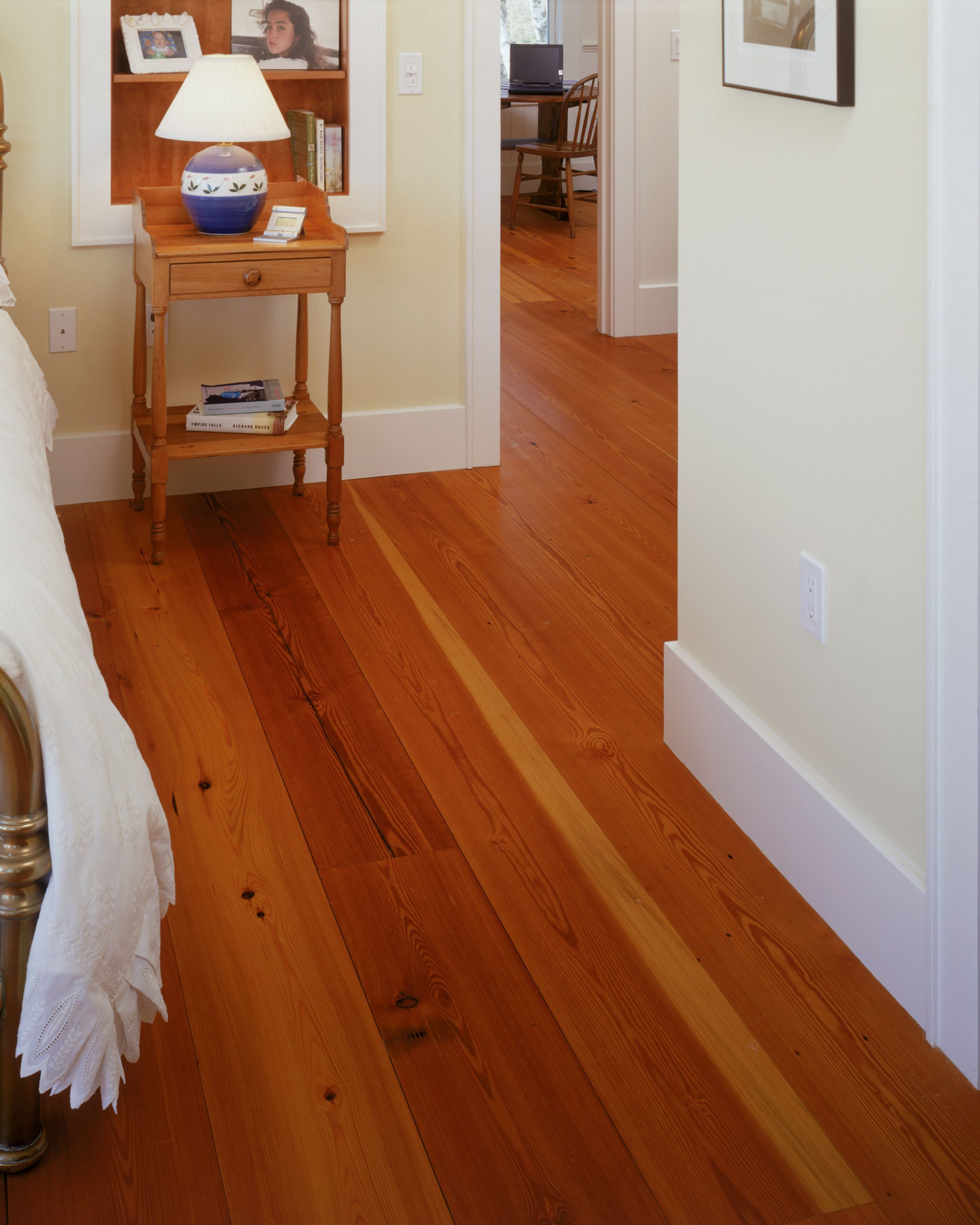 Reclaimed Heart Pine Flooring In Bedroom