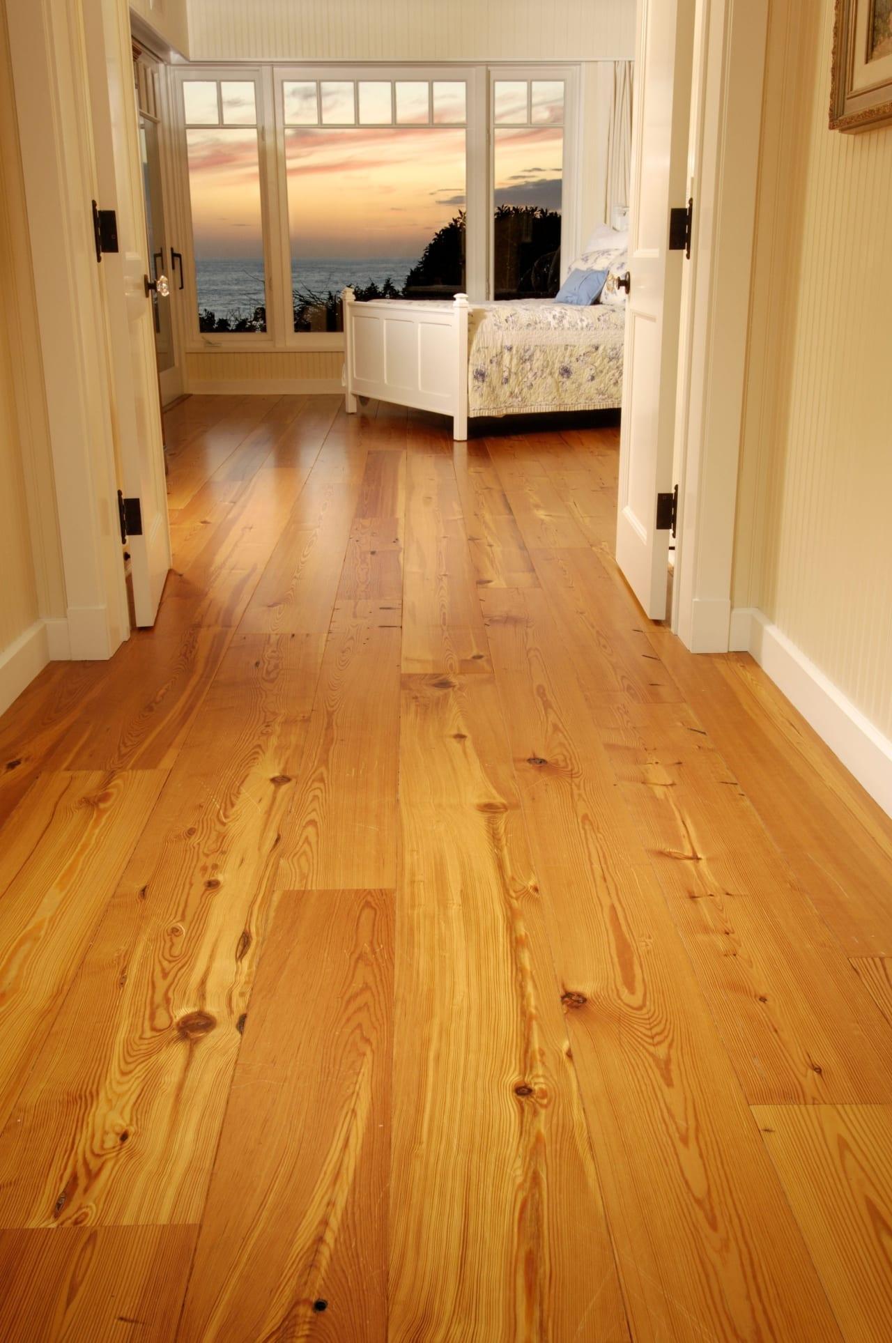 reclaimed heart pine floors in oceanfront home