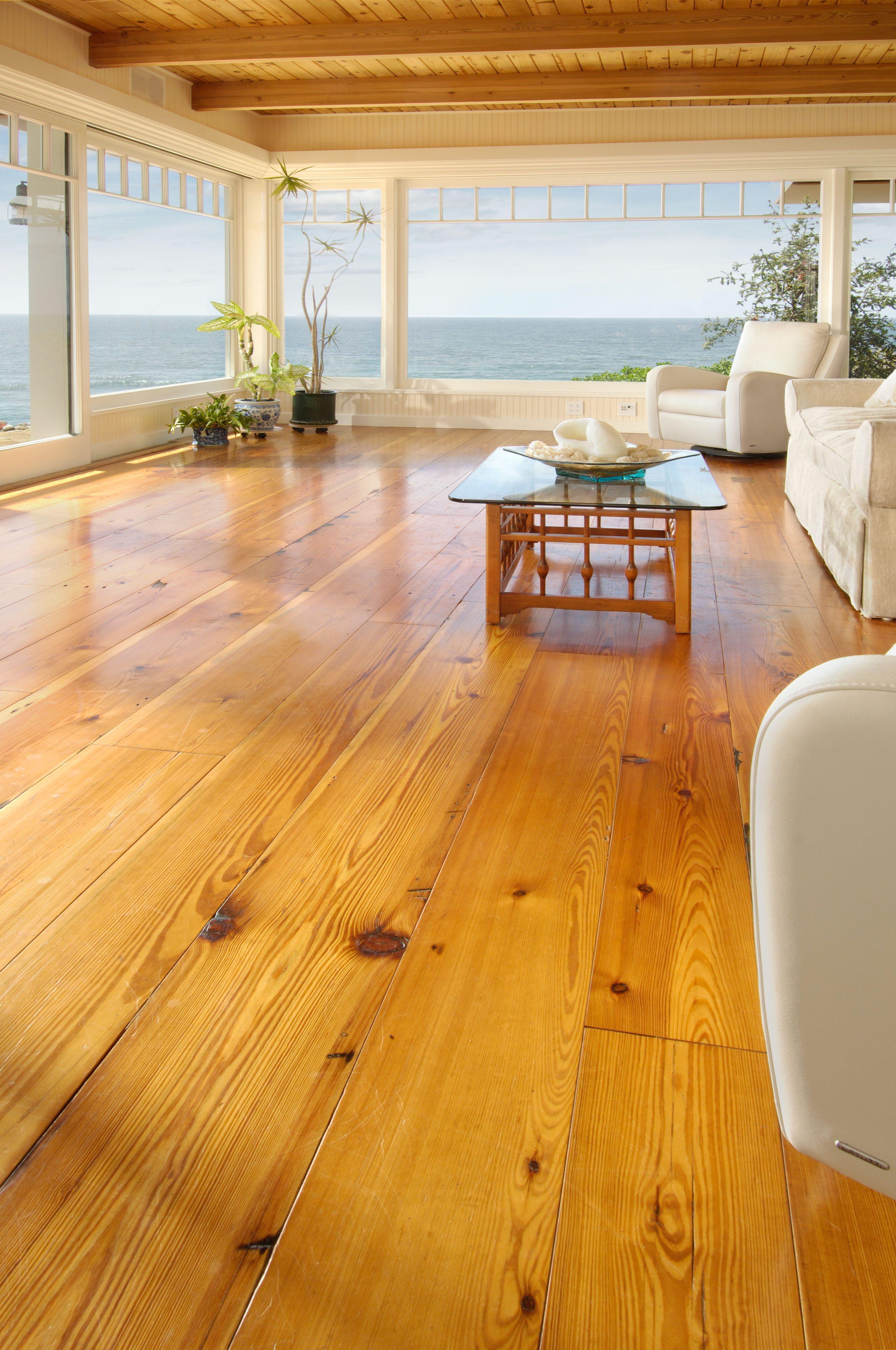 Reclaimed Heart Pine Oceanfront Living Room Carlisle