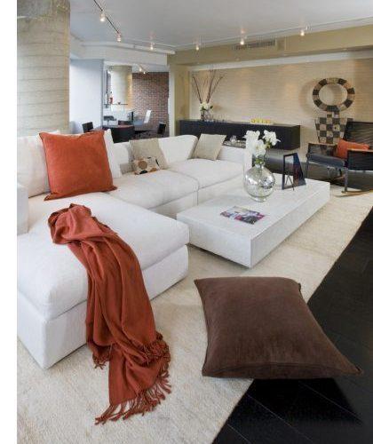 Carlisle dark oak flooring in a open concept living room