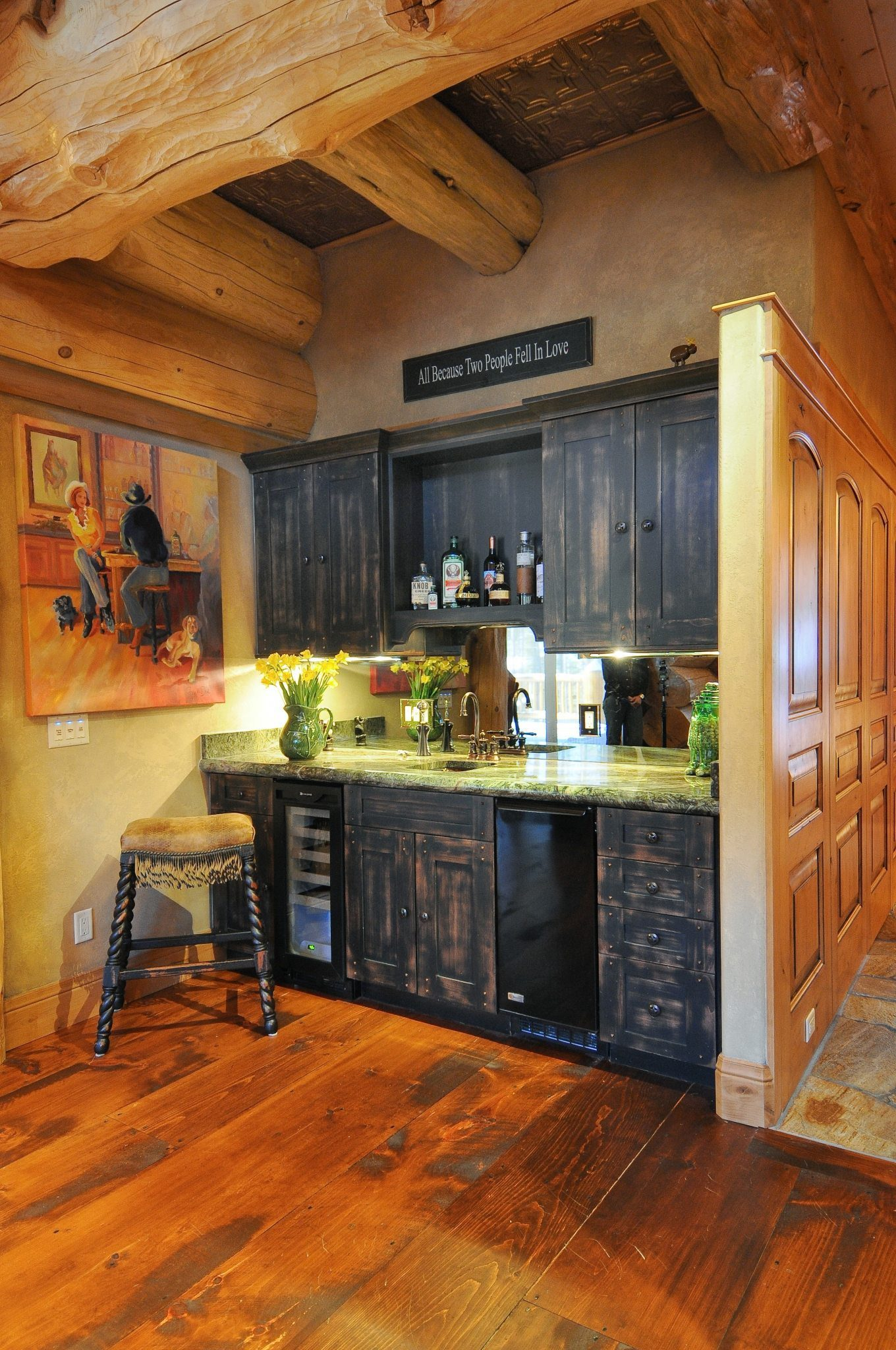 Eastern Hit or Miss White Pine Flooring in a Rustic Kitchen