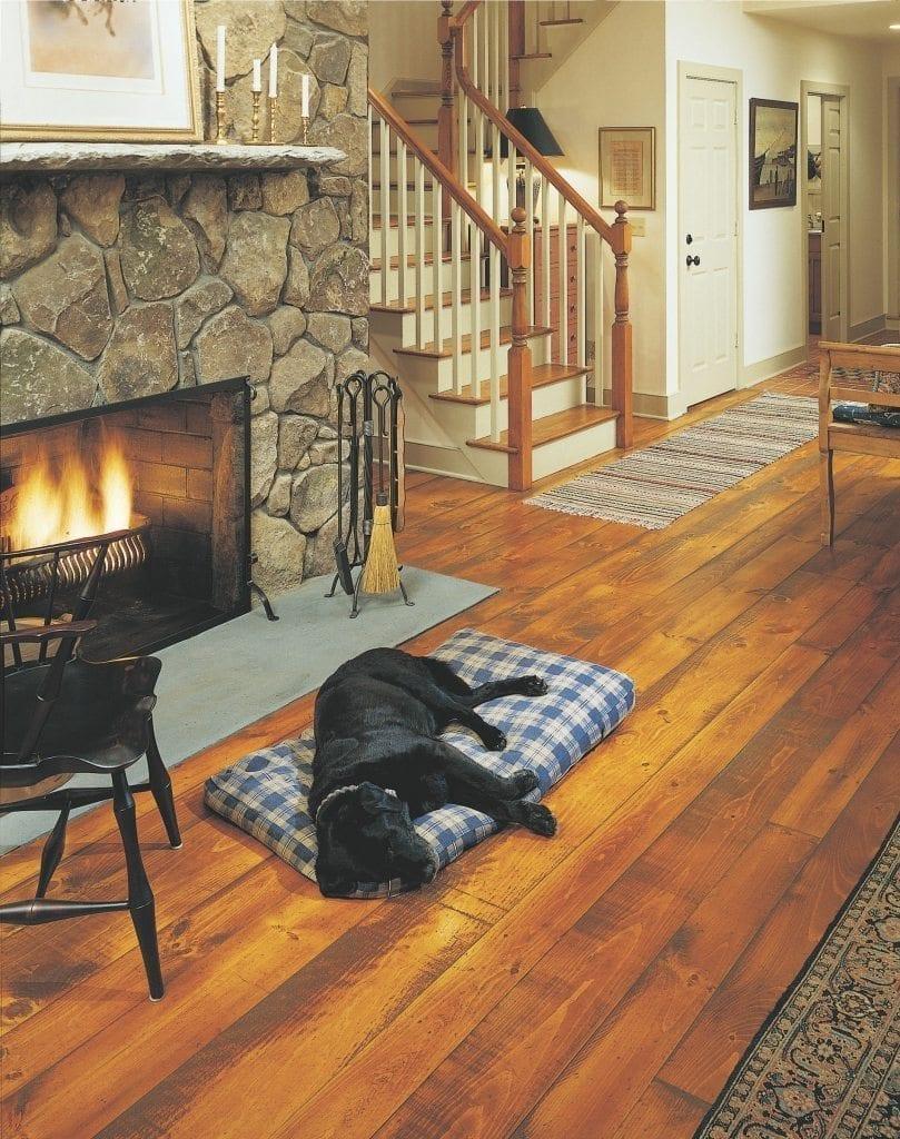 Eastern Hit Or Miss White Pine Floors In A Living Room