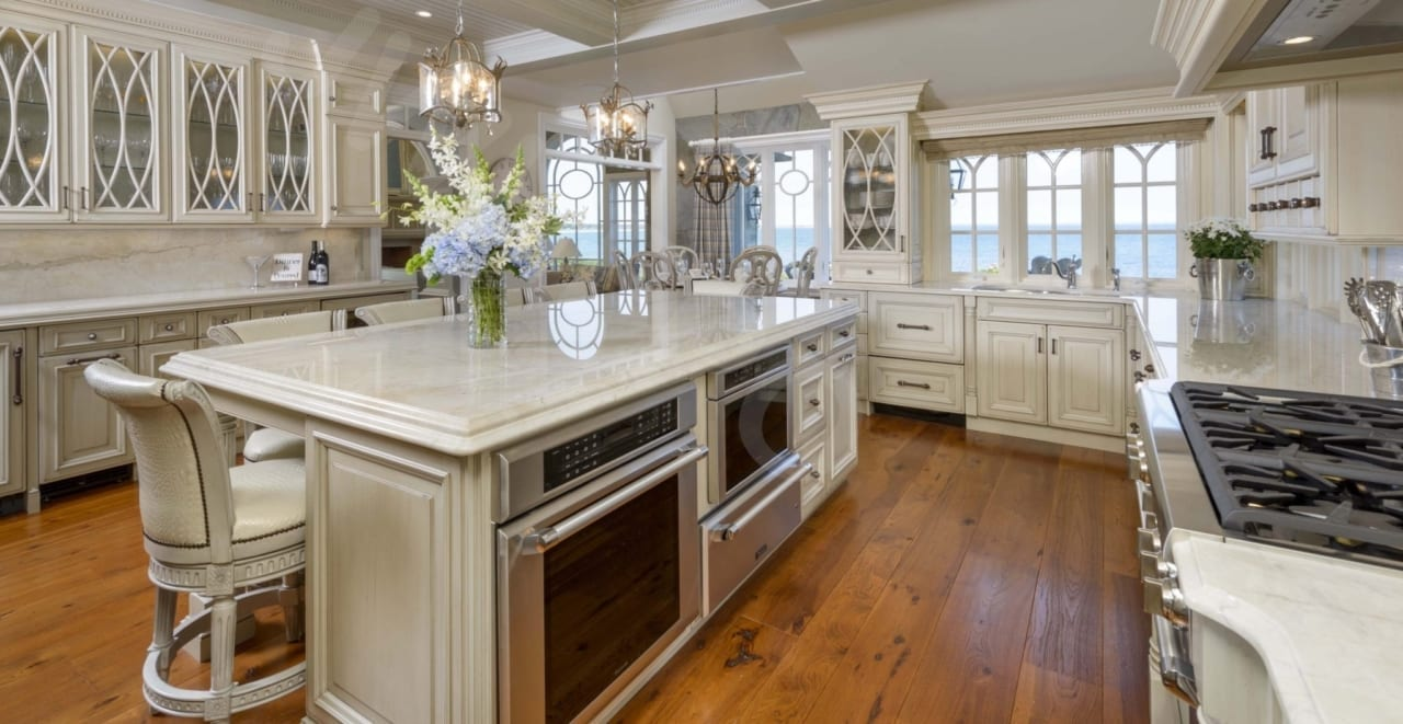 Hickory Flooring In A Custom Kitchen With An Island